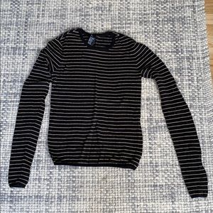 Theory Black and Cream Stripped Cotton Sweater
